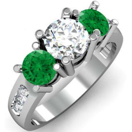 2.00 Carat (ctw) 14K White Gold Round Green Emerald & White Diamond Ladies 3 Stone Engagement Bridal Ring 2 CT