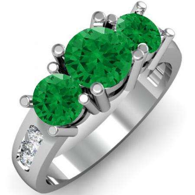 2.00 Carat (ctw) 10K White Gold Round Green Emerald & White Diamond Ladies 3 Stone Engagement Bridal Ring 2 CT