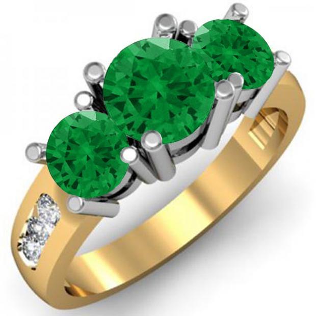 2.00 Carat (ctw) 14K Yellow Gold Round Green Emerald & White Diamond Ladies 3 Stone Engagement Bridal Ring 2 CT