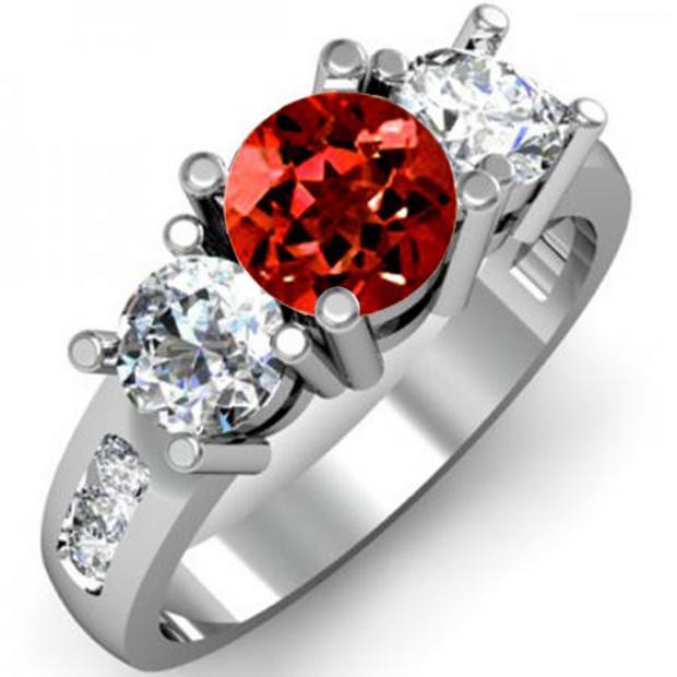 2.00 Carat (ctw) 10K White Gold Round Red Garnet & White Diamond Ladies 3 Stone Engagement Bridal Ring 2 CT