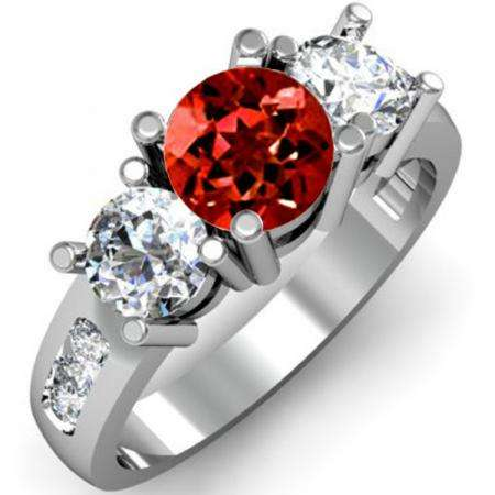 2.00 Carat (ctw) 14K White Gold Round Red Garnet & White Diamond Ladies 3 Stone Engagement Bridal Ring 2 CT