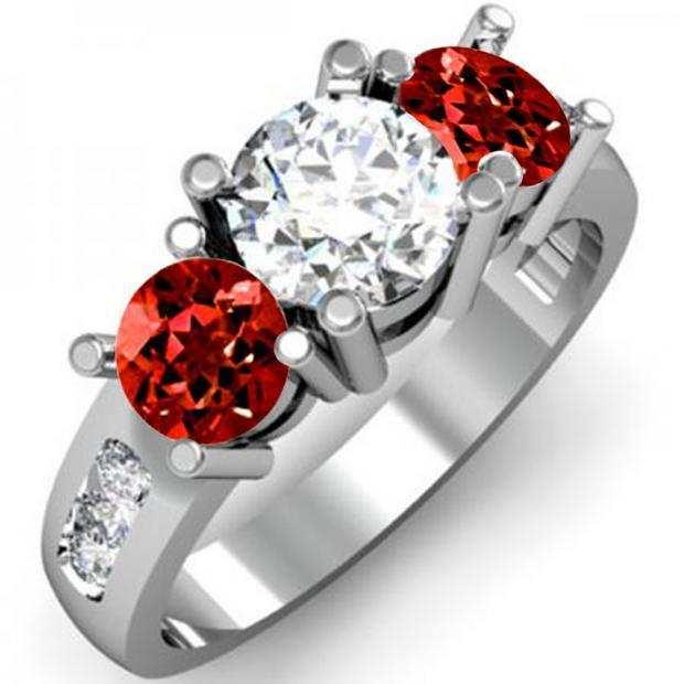 2.00 Carat (ctw) 14K White Gold Round Red Garnet & White Diamond Ladies 3 Stone Engagement Bridal Ring 2 CT