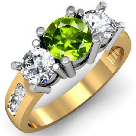 2.00 Carat (ctw) 10K Yellow Gold Round Green Peridot & White Diamond Ladies 3 Stone Engagement Bridal Ring 2 CT