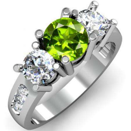 2.00 Carat (ctw) 14K White Gold Round Green Peridot & White Diamond Ladies 3 Stone Engagement Bridal Ring 2 CT