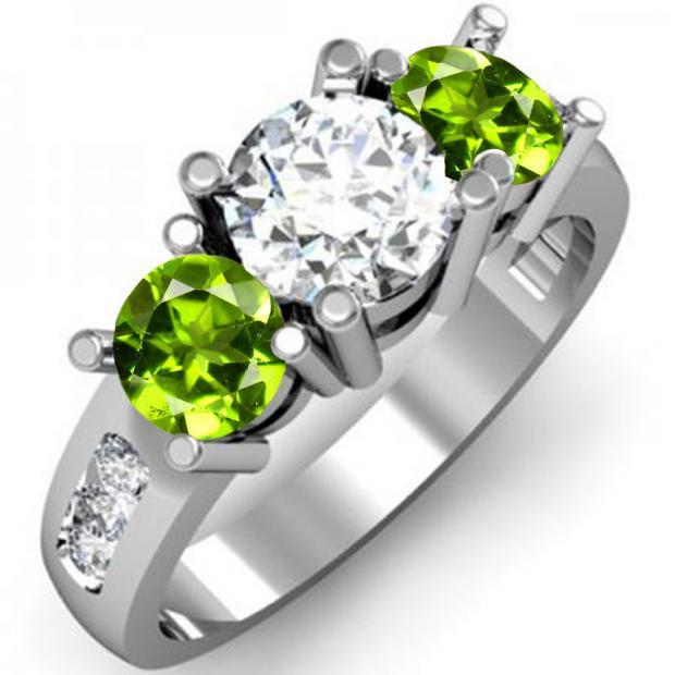 2.00 Carat (ctw) 18K White Gold Round Green Peridot & White Diamond Ladies 3 Stone Engagement Bridal Ring 2 CT