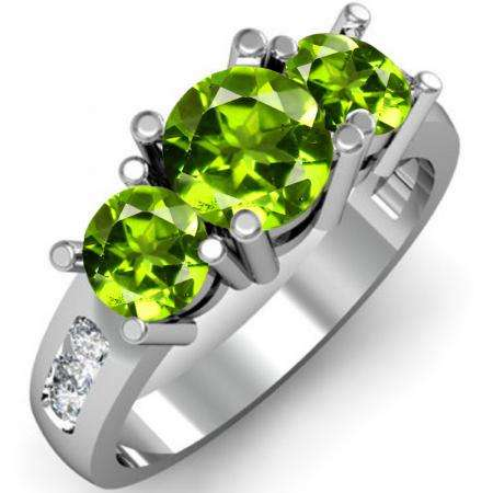 2.00 Carat (ctw) 18K White Gold Round Green Peridot & White Diamond Ladies 3 Stone Engagement Bridal Ring 2 CT