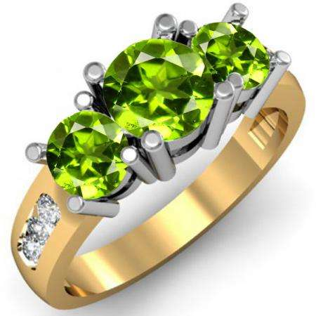 2.00 Carat (ctw) 18K Yellow Gold Round Green Peridot & White Diamond Ladies 3 Stone Engagement Bridal Ring 2 CT