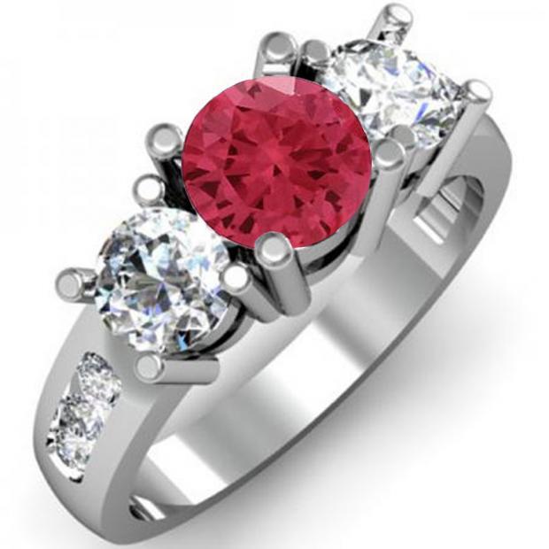 2.00 Carat (ctw) 14K White Gold Round Red Ruby & White Diamond Ladies 3 Stone Engagement Bridal Ring 2 CT