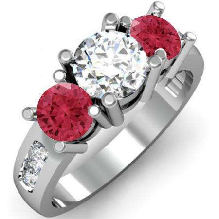 2.00 Carat (ctw) 18K White Gold Round Red Ruby & White Diamond Ladies 3 Stone Engagement Bridal Ring 2 CT