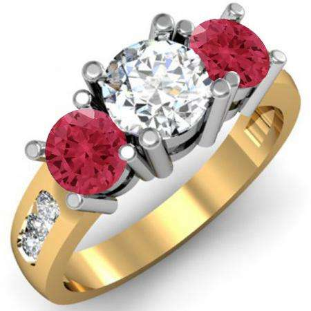 2.00 Carat (ctw) 18K Yellow Gold Round Red Ruby & White Diamond Ladies 3 Stone Engagement Bridal Ring 2 CT