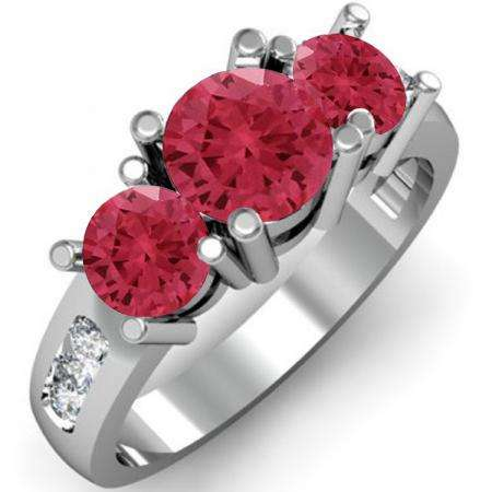 2.00 Carat (ctw) 10K White Gold Round Red Ruby & White Diamond Ladies 3 Stone Engagement Bridal Ring 2 CT