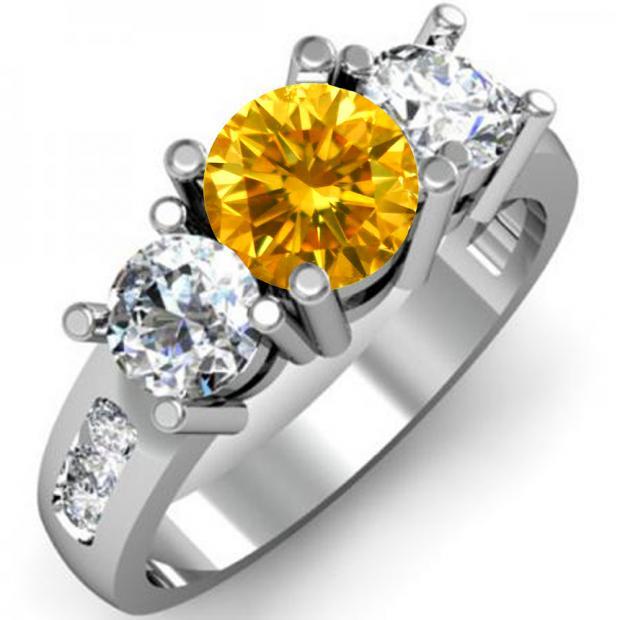 2.00 Carat (ctw) 10K White Gold Round Yellow & White Diamond Ladies 3 Stone Engagement Bridal Ring 2 CT