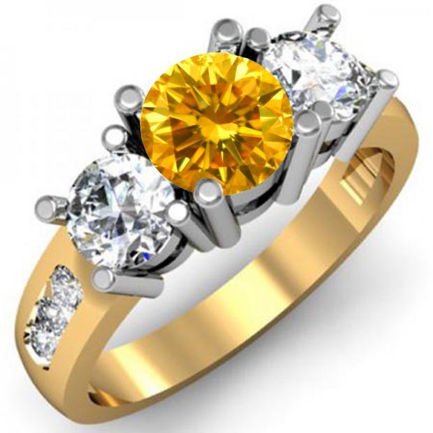 2.00 Carat (ctw) 14K Yellow Gold Round Yellow & White Diamond Ladies 3 Stone Engagement Bridal Ring 2 CT