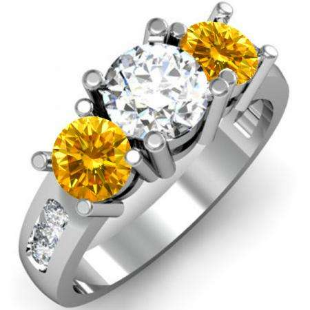 2.00 Carat (ctw) 18K White Gold Round Yellow & White Diamond Ladies 3 Stone Engagement Bridal Ring 2 CT