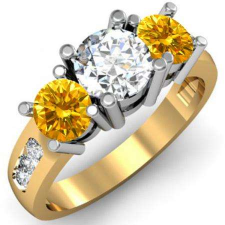 2.00 Carat (ctw) 14K Yellow Gold Round Yellow & White Diamond Ladies 3 Stone Engagement Bridal Ring 2 CT
