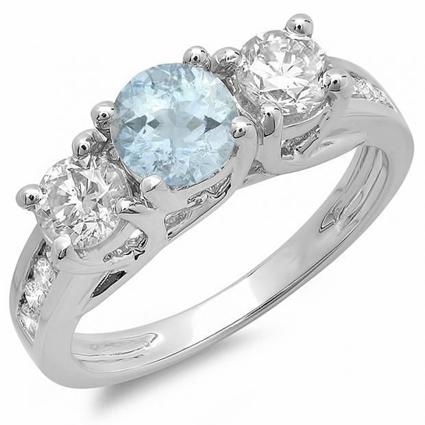 2.00 Carat (ctw) 14K White Gold Round Cut Aquamarine & Diamond Ladies 3 Stone Engagement Bridal Ring 2 CT