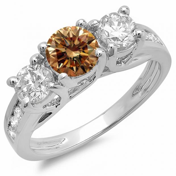 2.00 Carat (ctw) 14K White Gold Round Cut Champagne & White Diamond Ladies Bridal 3 Stone Engagement Ring 2 CT