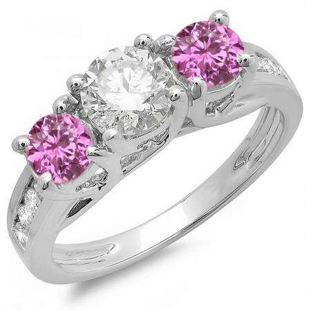 2.00 Carat (ctw) 10K White Gold Round Cut Pink Sapphire & White Diamond Ladies Bridal 3 Stone Engagement Ring 2 CT