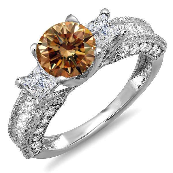 3.15 Carat (ctw) 10k White Gold Round Champagne & Princess White Diamond Ladies 3 Stone Engagement Bridal Ring