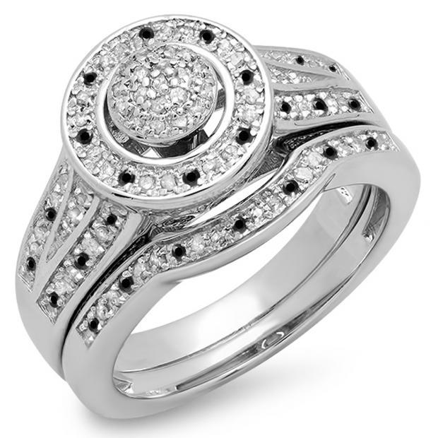 0.50 Carat (ctw) 10K White Gold Round Black & White Diamond Ladies Split Shank Bridal Engagement Ring Set Matching Wedding Band 1/2 CT