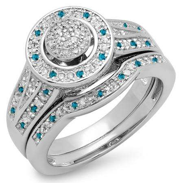 0.50 Carat (ctw) Sterling Silver Round Blue & White Diamond Ladies Split Shank Bridal Engagement Ring Set Matching Wedding Band 1/2 CT