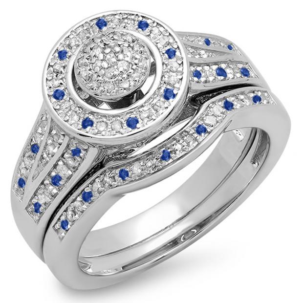 0.50 Carat (ctw) 14K White Gold Round Blue Sapphire & White Diamond Ladies Split Shank Bridal Engagement Ring Set Matching Wedding Band 1/2 CT