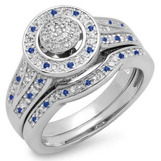 0.50 Carat (ctw) Sterling Silver Round Blue Sapphire & White Diamond Ladies Split Shank Bridal Engagement Ring Set Matching Wedding Band 1/2 CT