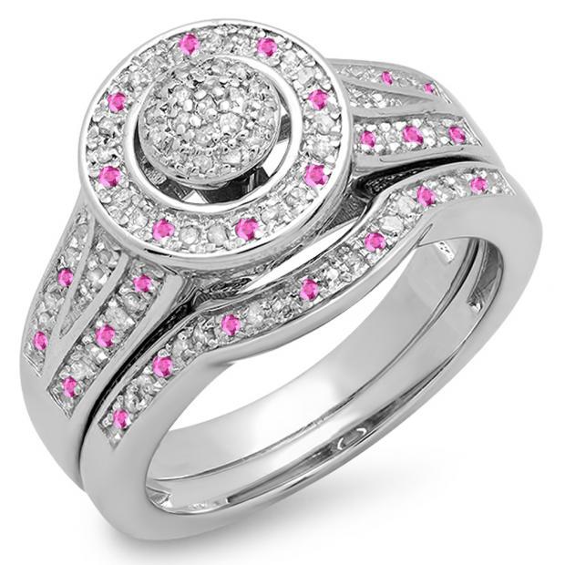 0.50 Carat (ctw) 14K White Gold Round Pink Sapphire & White Diamond Ladies Split Shank Bridal Engagement Ring Set Matching Wedding Band 1/2 CT