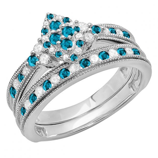 0.80 Carat (ctw) 14K White Gold Round Blue & White Diamond Ladies Bridal Marquise Shape Promise Engagement Ring Set With Matching Band 3/4 CT