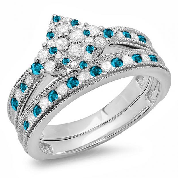 0.80 Carat (ctw) 10K White Gold Round Blue & White Diamond Ladies Bridal Marquise Shape Promise Engagement Ring Set With Matching Band 3/4 CT