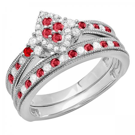 0.80 Carat (ctw) 10K White Gold Round Ruby & White Diamond Ladies Bridal Marquise Shape Promise Engagement Ring Set With Matching Band 3/4 CT