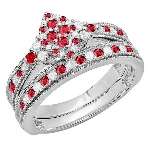 0.80 Carat (ctw) 14K White Gold Round Ruby & White Diamond Ladies Bridal Marquise Shape Promise Engagement Ring Set With Matching Band 3/4 CT