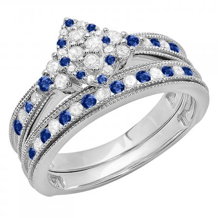 0.80 Carat (ctw) 14K White Gold Round Blue Sapphire & White Diamond Ladies Bridal Marquise Shape Promise Engagement Ring Set With Matching Band 3/4 CT