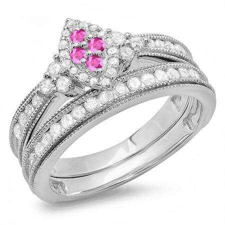 0.80 Carat (ctw) 14K White Gold Round Pink Sapphire & White Diamond Ladies Bridal Marquise Shape Promise Engagement Ring Set With Matching Band 3/4 CT