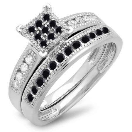 0.50 Carat (ctw) 10K White Gold Round Black & White Diamond Ladies Engagement Bridal Ring Set Matching Wedding Band 1/2 CT