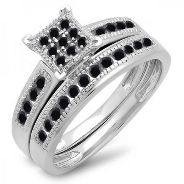 0.50 Carat (ctw) 10K White Gold Round Black Diamond Ladies Engagement Bridal Ring Set Matching Wedding Band 1/2 CT