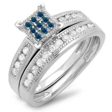 0.50 Carat (ctw) Sterling Silver Round Blue & White Diamond Ladies Engagement Bridal Ring Set Matching Wedding Band 1/2 CT