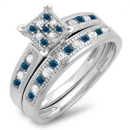 0.50 Carat (ctw) 14K White Gold Round Blue & White Diamond Ladies Engagement Bridal Ring Set Matching Wedding Band 1/2 CT