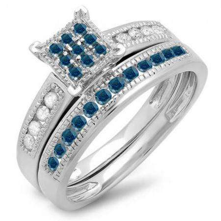 0.50 Carat (ctw) 10K White Gold Round Blue & White Diamond Ladies Engagement Bridal Ring Set Matching Wedding Band 1/2 CT