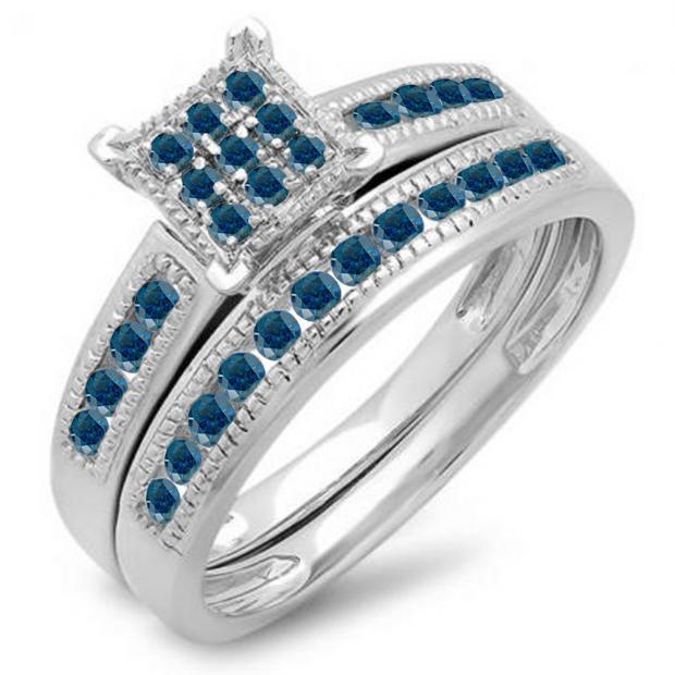 0.50 Carat (ctw) 10K White Gold Round Blue Diamond Ladies Engagement Bridal Ring Set Matching Wedding Band 1/2 CT