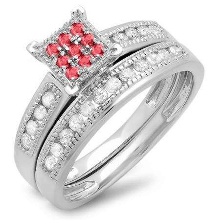 0.50 Carat (ctw) 10K White Gold Round Ruby & White Diamond Ladies Engagement Bridal Ring Set Matching Wedding Band 1/2 CT