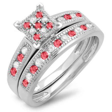 0.50 Carat (ctw) Sterling Silver Round Ruby & White Diamond Ladies Engagement Bridal Ring Set Matching Wedding Band 1/2 CT