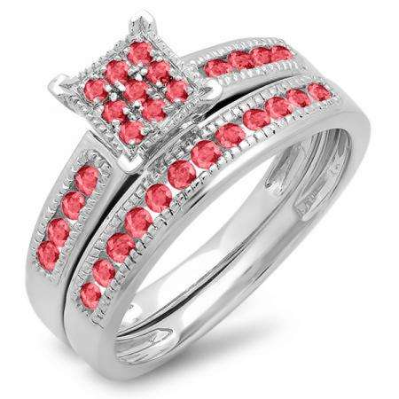 0.50 Carat (ctw) 14K White Gold Round Ruby Ladies Engagement Bridal Ring Set Matching Wedding Band 1/2 CT