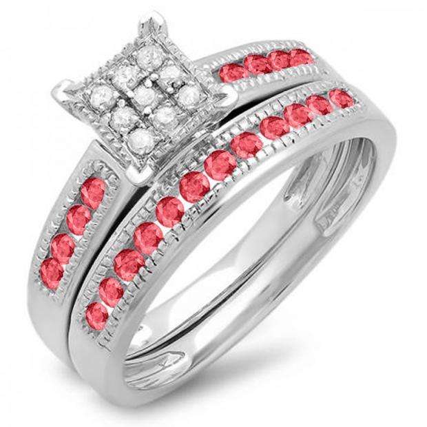 0.50 Carat (ctw) 14K White Gold Round Ruby & White Diamond Ladies Engagement Bridal Ring Set Matching Wedding Band 1/2 CT