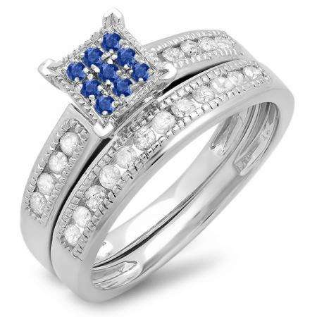 0.50 Carat (ctw) 14K White Gold Round Blue Sapphire & White Diamond Ladies Engagement Bridal Ring Set Matching Wedding Band 1/2 CT