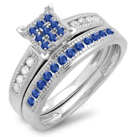 0.50 Carat (ctw) Sterling Silver Round Blue Sapphire & White Diamond Ladies Engagement Bridal Ring Set Matching Wedding Band 1/2 CT