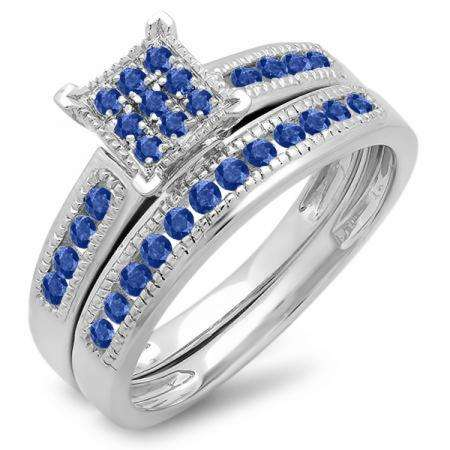 0.50 Carat (ctw) 10K White Gold Round Blue Sapphire Ladies Engagement Bridal Ring Set Matching Wedding Band 1/2 CT