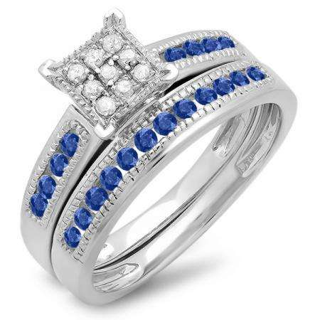 0.50 Carat (ctw) 10K White Gold Round Blue Sapphire & White Diamond Ladies Engagement Bridal Ring Set Matching Wedding Band 1/2 CT