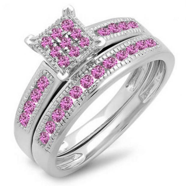0.50 Carat (ctw) 10K White Gold Round Pink Sapphire Ladies Engagement Bridal Ring Set Matching Wedding Band 1/2 CT