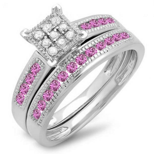 0.50 Carat (ctw) 10K White Gold Round Pink Sapphire & White Diamond Ladies Engagement Bridal Ring Set Matching Wedding Band 1/2 CT